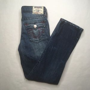 True Religion Women Red Stitched Straight Jeans 14